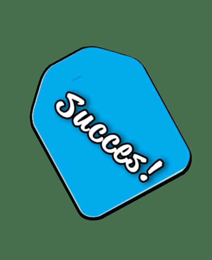 label succes blauw
