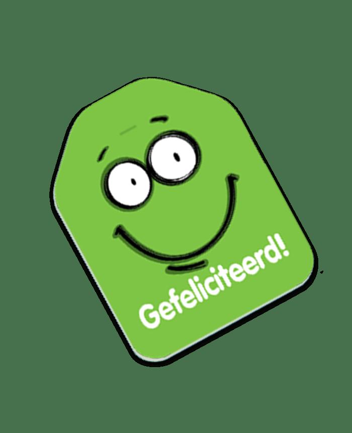 label gefeliciteerd groen